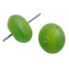 Glass Pressed Beads 8mm Round Green/Yellow Matt